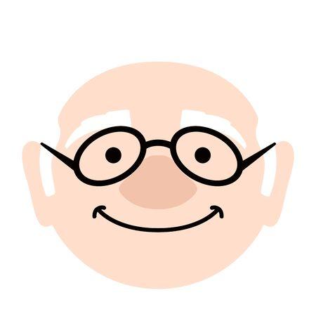 Isolated happy elder man avatar