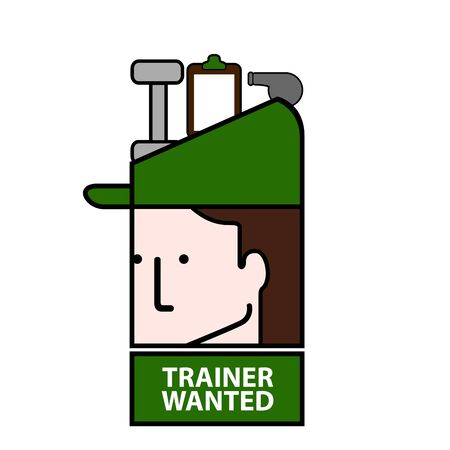 Isolated trainer wanted avatar image - Vector illustration