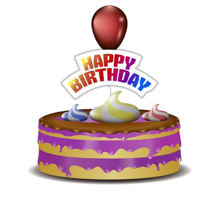 Cake and red balloon with happy birthday text - Vector