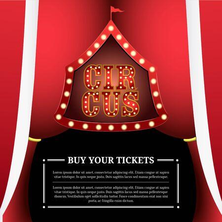 Circus light poster with a big top solhouette - Vector Illusztráció