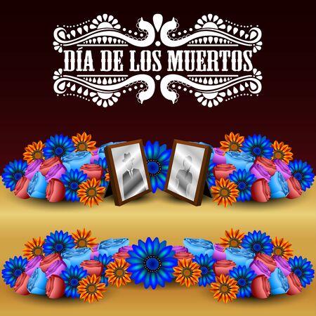 Dia de los muertos poster - Vector illustration Ilustração