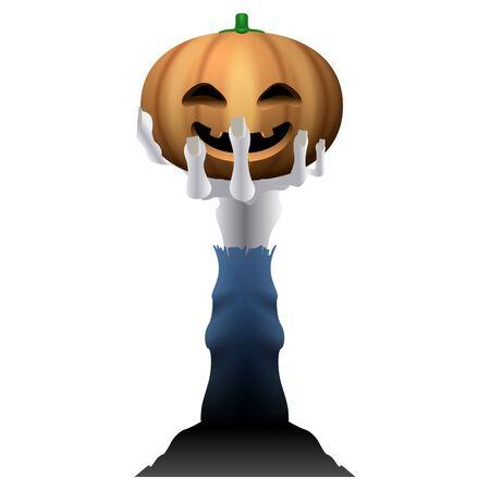 Pumpkin in a zombie hand
