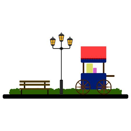Food cart on a park landscape with a public lamp - Vector