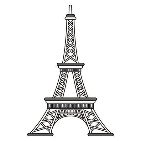 Isolated Eiffel tower outline