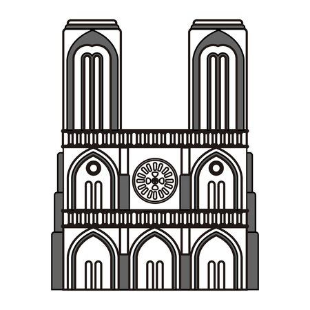 Isolated Notre Dame Cathedral outline Vectores
