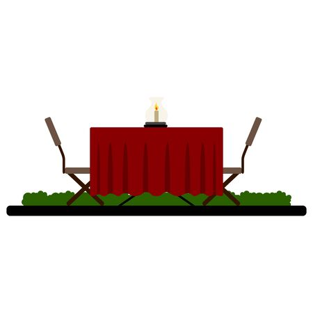 Isolated romantic restaurant table