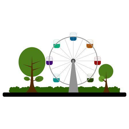 Ferris wheel on a park  イラスト・ベクター素材