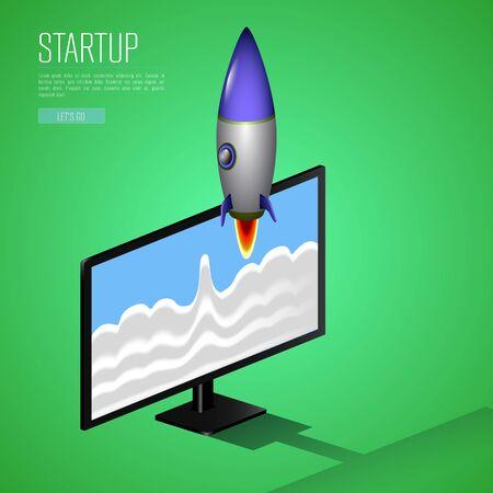 Business startup concept with a rocket - Vector Ilustração