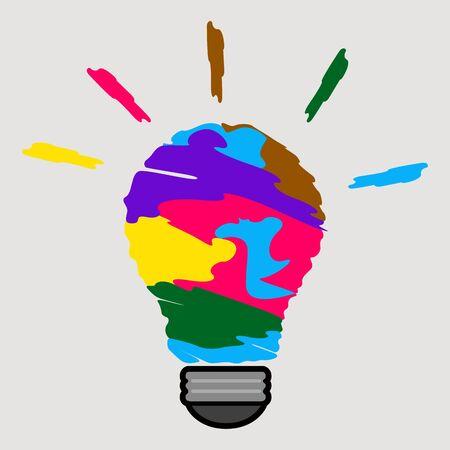 Lightbulb on a colored background. Idea lightbulb concept - Vector