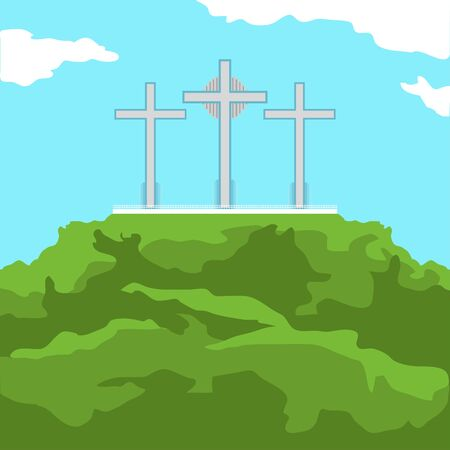 Famous place in colombia. Hill of the three crosses - Vector