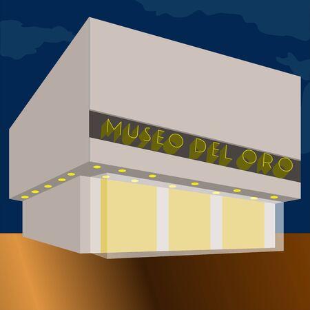 Famous place in colombia. Gold museum - Vector Illusztráció