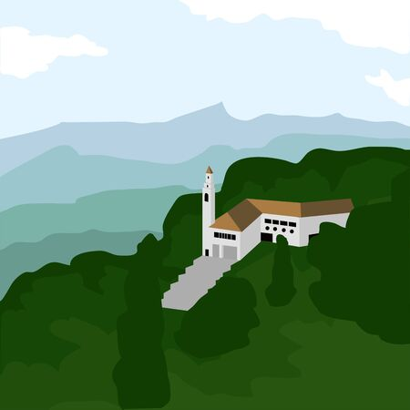 Famous place in colombia. Monserrate hill - Vector