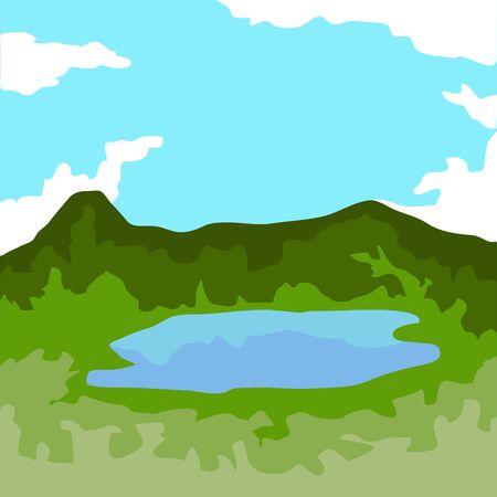 Famous place in colombia. Guatavita lagoon - Vector Illusztráció