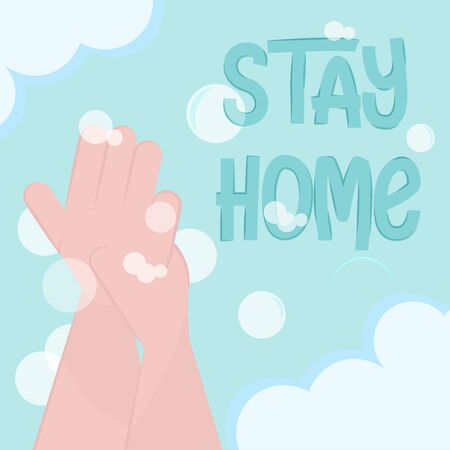 Stay in home poster. Hand washing - Vector Иллюстрация