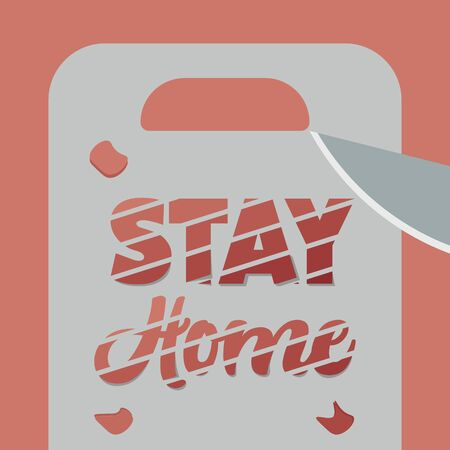 Stay in home poster. Chopping board and knife - Vector Иллюстрация