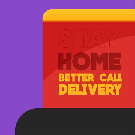 Stay in home poster. Delivery box - Vector Иллюстрация