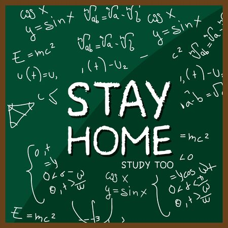 Stay in home poster. Board with notes - Vector Иллюстрация