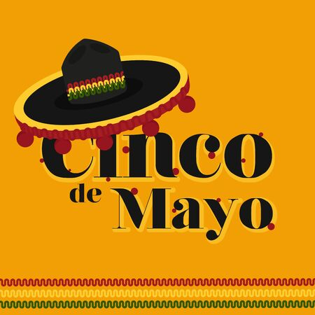 Cinco de mayo poster with a traditional mexican hat - Vector illustration Иллюстрация