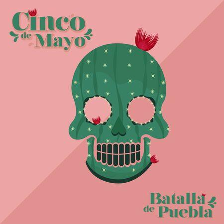 Cinco de mayo poster. Decorated mexican skull - Vector illustration