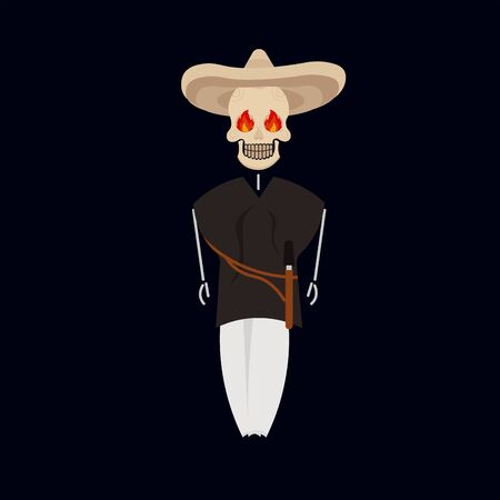 Skeleton in traditional mexican costume - Vector illustration