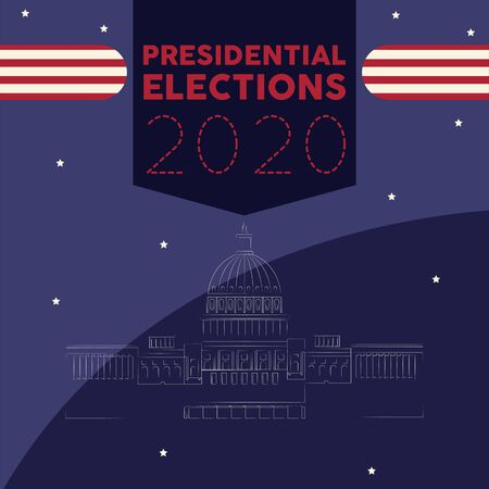 United States elections poster. White House outline - Vector Иллюстрация