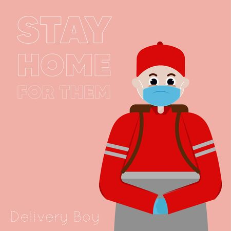 Stay in home poster. Delivery man cartoon - Vector Иллюстрация