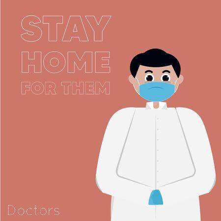 Stay in home poster. Doctor cartoon - Vector Иллюстрация
