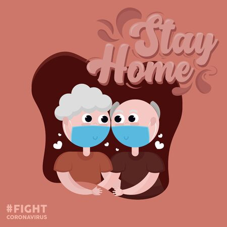 Stay in home poster. Old couple cartoon - Vector
