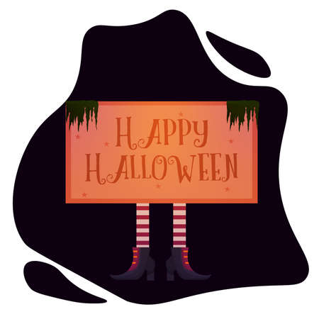 Witch legs with happy halloween text  イラスト・ベクター素材