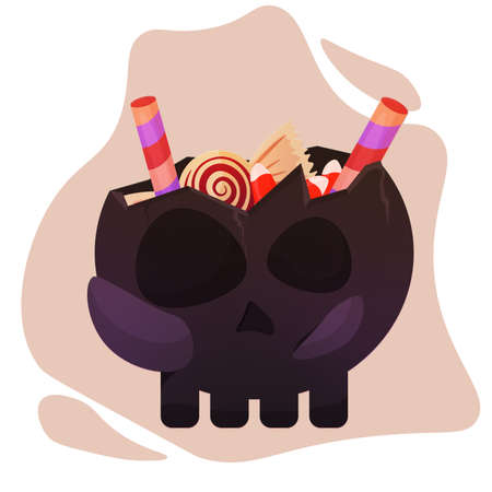 Halloween skull with candies
