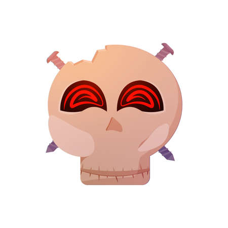 Crazy halloween skull Ilustração