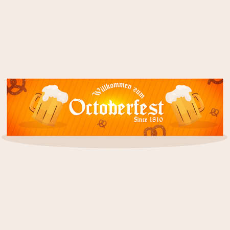 Isolated octoberfest pretzels banner design 向量圖像