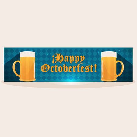 Isolated octoberfest blue banner design