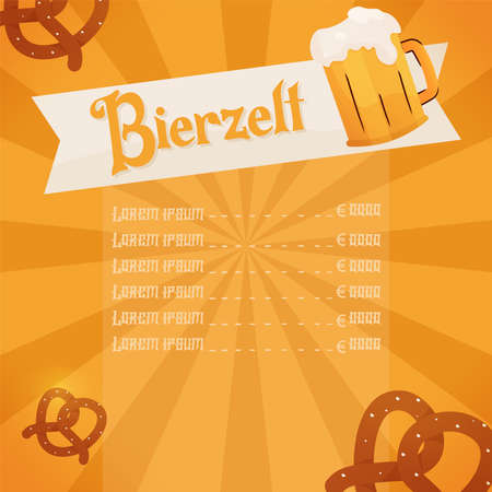 Menu bierzelf octoberfest design 向量圖像
