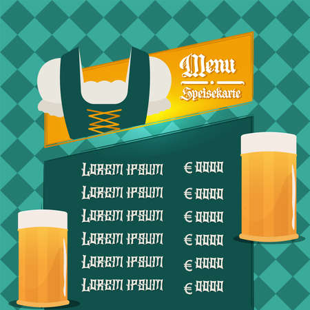 Menu beer green octoberfest design 向量圖像