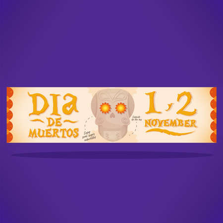 Day of deaths skull dia de muertos november banner- vector 向量圖像