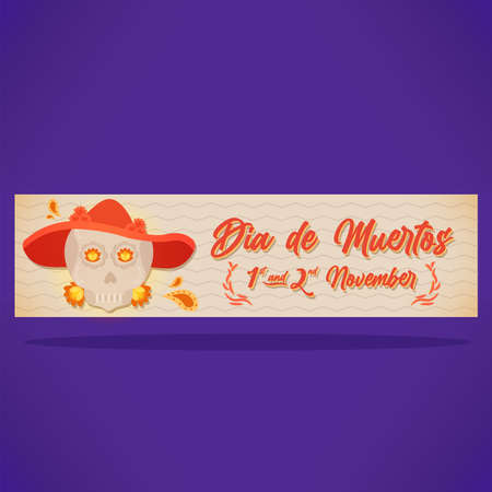 Day of deaths woman skull dia de muertos november banner- vector