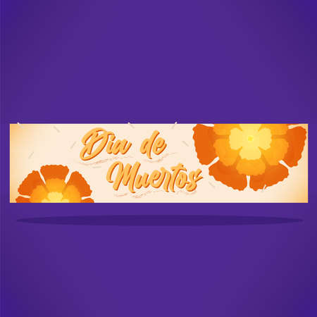 Day of deaths flowers banner
