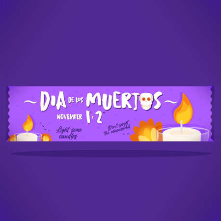 Day of deaths purple banner 向量圖像