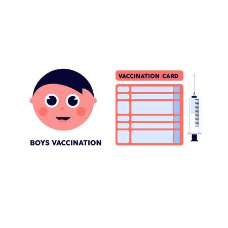 Isolated boy card vaccination virus blue logo icon - Vector