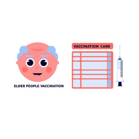 Isolated older card vaccination virus blue logo icon - Vector 向量圖像