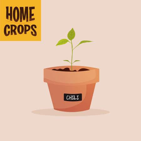 Home crop onion in flowerpot food health icon- Vector
