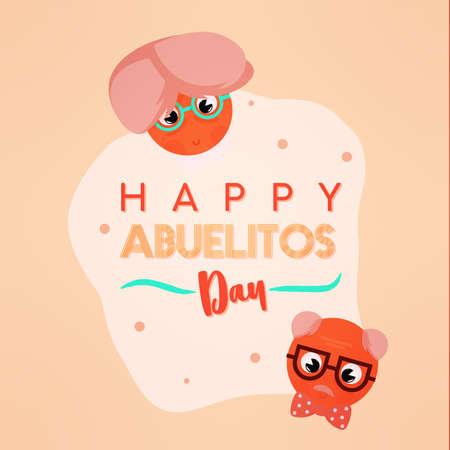 Happy abuelitos day granparents day image icon- Vector