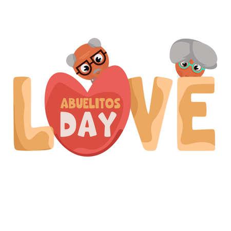 Love granparents grandpa day image icon- Vector
