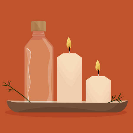 Candles white spa in dark background relax icon- Vector