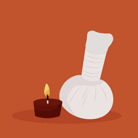 Candle red and stones spa in dark background relax icon- Vector