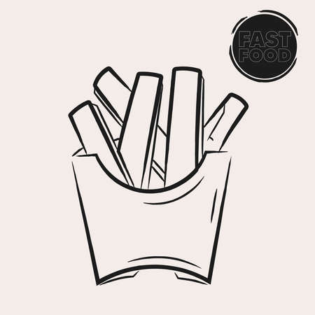 Isolated fries potatoes draw fast food delivery white background icon- Vector Векторная Иллюстрация