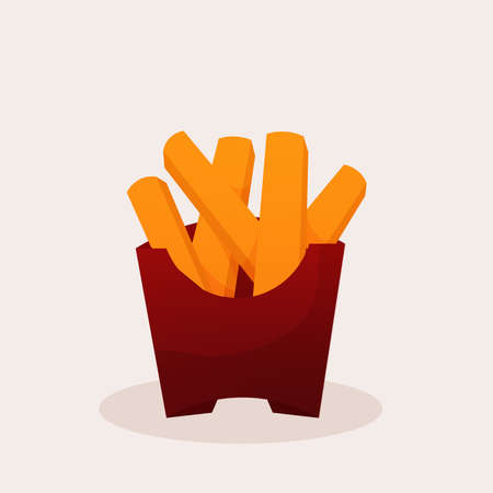 Isolated fries potatoes color fast food delivery white background icon- Vector Векторная Иллюстрация