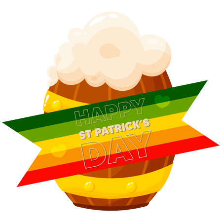 Isolated beer rainbow wood saitn patricks day ireland icon- Vector Stock Illustratie