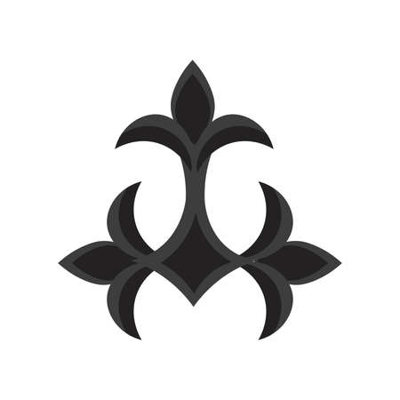 Isolated fleur de lis three black elegant emblem icon - Vector